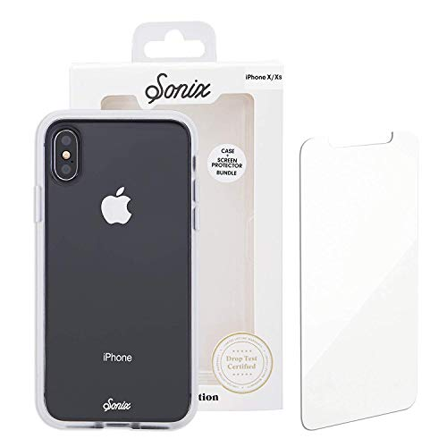 Sonix Clear Cell Phone Case and Tempered Glass Screen Protector [Military Drop Test Certified] Clear Case and Screen Protector Bundle Pack for Apple iPhone Xs Max
