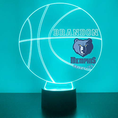 Memphis Handmade Acrylic Personalized Grizzlies NBA Basketball LED Night Light - Remote, 16 Color Option, Great Personalized Gift, Engraved