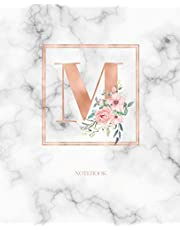 Notebook: Marble Rose Gold Monogram Initial Letter M with Marble and Pink Floral Notebook Journal for Women, Girls and School Wide Rule (7.5 in x 9.25 in)