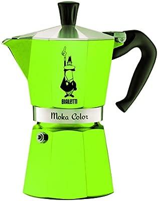 Bialetti 0009122 Cafetera Moka Express capacidad para 3 tazas aluminio, color verde