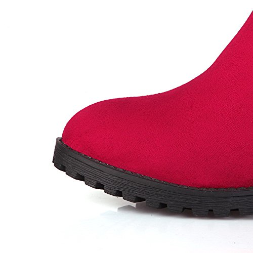 Allhqfashion Mujer-pull-on Low-heels Imitated Suede Assorted Color High-top Botas Rojo