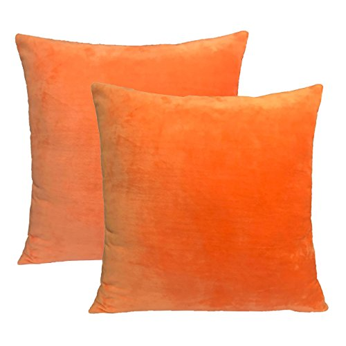 Sykting 18 x 18 Pillow Covers Set of 2 Square Cotton Super Soft Short Plush Light Orange (Pillows Solid Color)