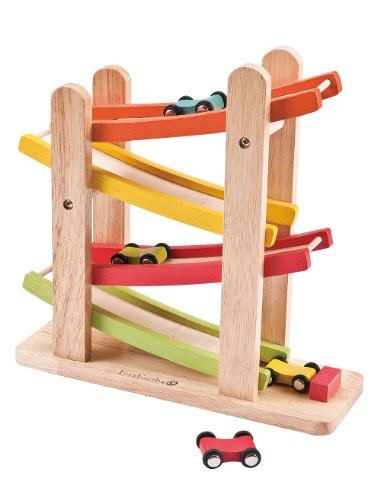 EverEarth Jr. Ramp Racer. Race Track for Toddlers and 4 Wood Cars, Race Car Ramp Set