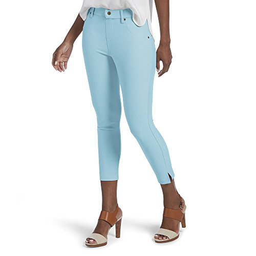 (HUE Women's Ankle Slit Essential Denim Capri Leggings, Waterfall, XS)