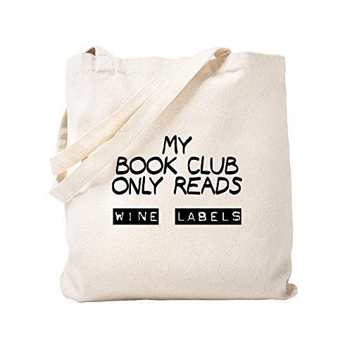CafePress My Book Club Reads Wine Labels Natural Canvas Tote Bag, Cloth Shopping Bag
