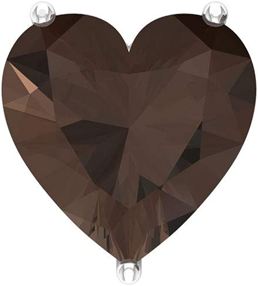 Pendientes de cuarzo ahumado con forma de corazón de 3 quilates, pendientes de boda, declaración de dama de honor, vintage solitario, pendientes de aniversario, tornillo hacia atrás