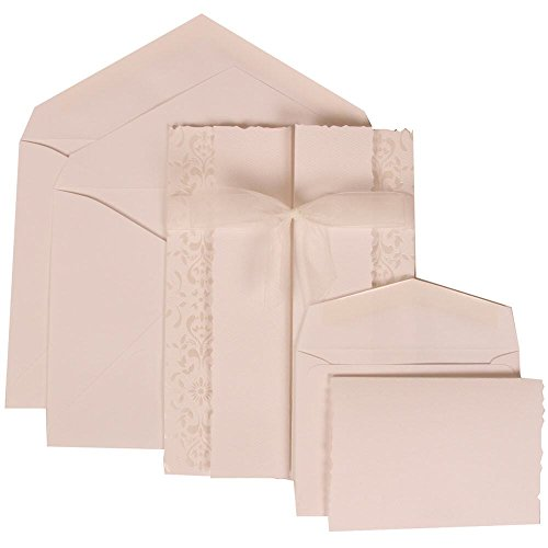JAM Paper Wedding Invitation Combo Sets - 1 Small & 1 Large - White Card with White Envelope with Ivory Castilian Ribbon - 150/pack by JAM Paper