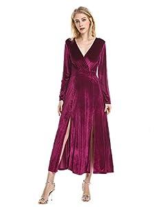 ZAN.STYLE Velvet Dress, Long Sleeve Retro Maxi Dress V Neck Side Slit Formal Long Dress for Party
