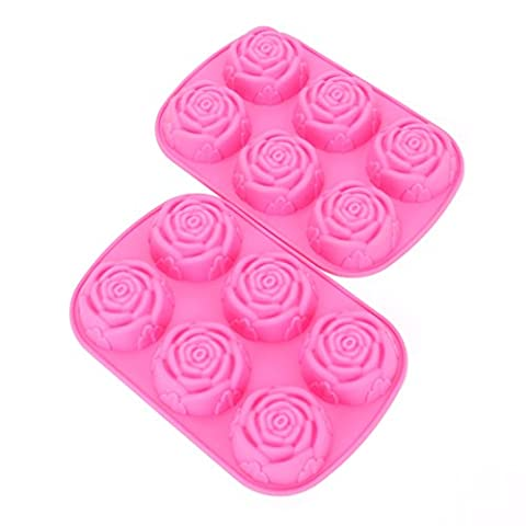 Fasmov 6 Cavity Rose Shape Silicone Mold for Homemade Soap, Cake, Cupcake, Bread, Muffin and More,Set of 2