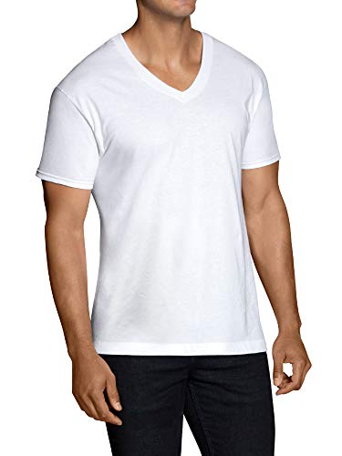 Fruit of the Loom Men's Stay-Tucked V-Neck T-Shirt, White (6 Pack) -Tall Sizes, Large ()
