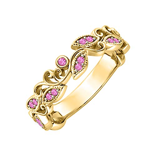 (SVC-JEWELS Unique Leaf Flower Engagement Ring Round Pink Sapphire 14k Yellow Gold Plated Art Deco Women's Promise Ring)