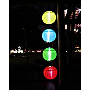 RioRand Chinese waterproof outdoor garden solar hanging LED light lanterns (Red/green/blue/yellow)