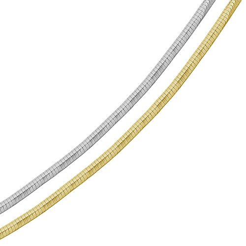 4mm Sterling Silver Italian Necklace 14K Gold Plated 2 Tone Reversible Flat Omega Chain (18, 20, 22 Inch), 22