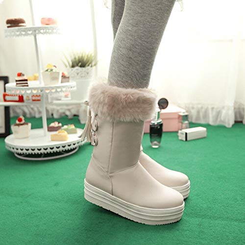 Boots Warm Middle Fringe size Boots uk Winter Women's 4 Transer Beige Shoes Platform Snow Heel Flat Beige g8vnq