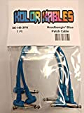 #9: Kolor Kables Instrument Cables 1FT Right Angle Patch Cables 2YR Warranty (3 Pack, Headbangin Blue)