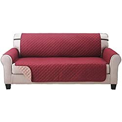 Deluxe Original Reversible Couch Slipcover Furniture Protector, Seat Sofa, Chair, Loveseat Quilted, Anti-Slip 2 Inch Strap, Machine Washable, Slip Cover Throw for Pets, Dogs, Cats, and Kids - Burgundy