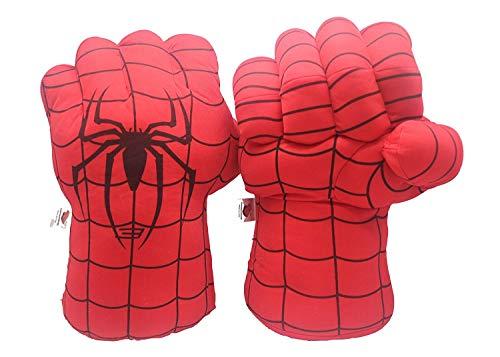 Junboys Plush Kids Boxing Glove Spiderman Toys Super Hero Spider Man Gloves, Smash Hands Fists Super Man Spider, Incredibles Spider-Man Costume Cosplay Dolls for Boys Girls. (1 Pair, Red)