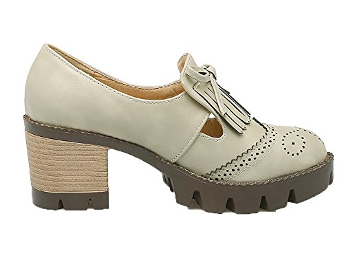 Odomolor Women's Pull-On Round-Toe Kitten-Heels PU Solid Pumps-Shoes Gray LaIK9M
