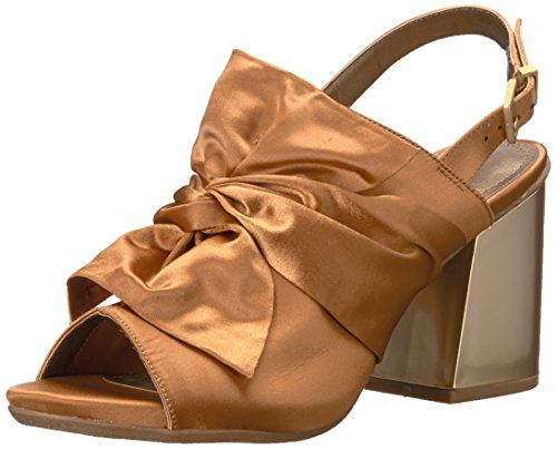 - Kenneth Cole REACTION Women's Reach Beyond Peep Toe Dress Sandal with Twisted Bow Detail, Flared Heel-Satin Slide Pump, Ochre, 8 M US