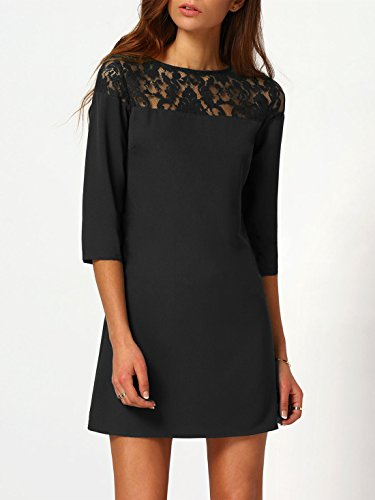 SheIn Womens Casual Sexy Round Neck Sheer Lace Yoke Shift Dress at Amazon Womens Clothing store: