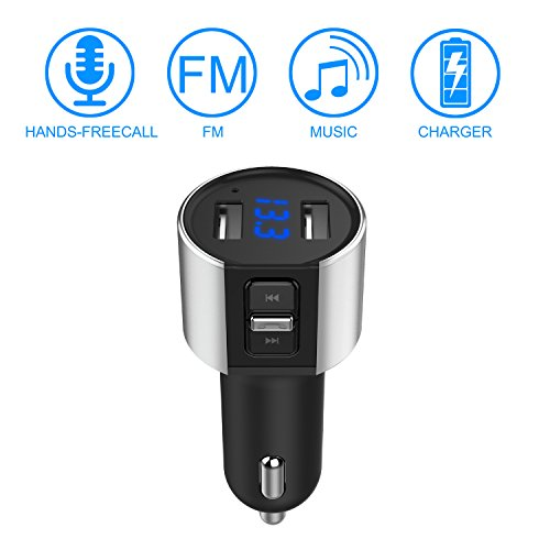 Car Charger Dual USB FM Transmitter Call Smart Handsfree Wireless Bluetooth Mp3 Adapter IOS Android Devices 5V 3.4A Port for iPhone , iPad ,Samsung, Galaxy note , LG, Nexus, HTC and more