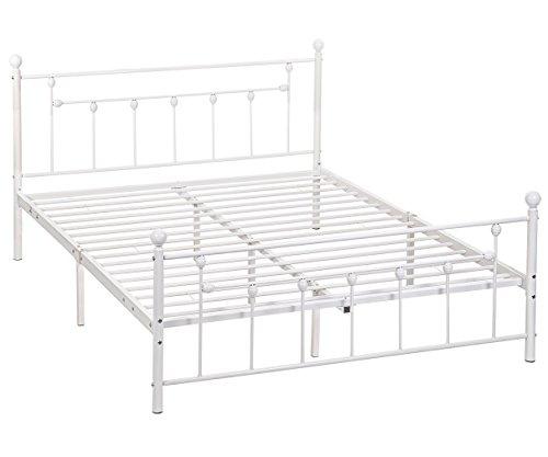 BestMassage Metal Bed Fram Mattress Foundation with Slat - White Fram
