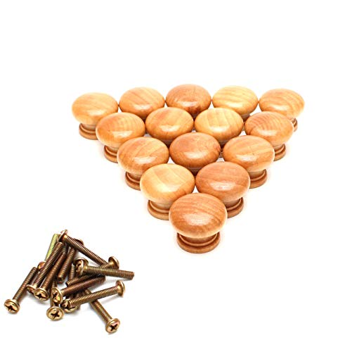 (Smartsails 15PCS, 1.1 Inch Furniture Drawer Door Cabinet Wardrobe Solid Wood Round Knob Handle with Screws)
