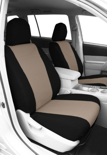 CalTrend Front Row Bucket Custom Fit Seat Cover for Select Chevrolet Silverado/GMC Sierra Models - DuraPlus (Beige Insert with Black Trim)
