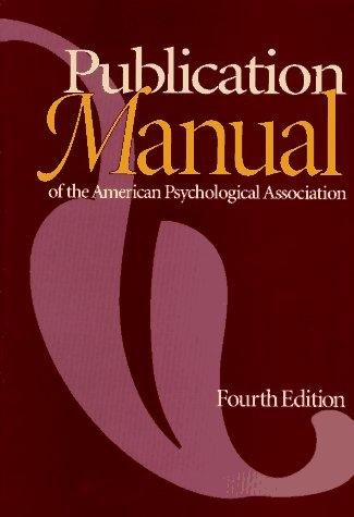 Publication Manual of the American Psychological Association 4e