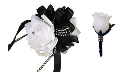 Set: Wrist Corsage and Boutonniere - White Roses and Black Ribbon (Corsage White)