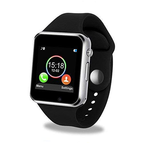 Smart Watch Bluetooth smartwatch with Camera Music Player for IOS iPhone, Android Samsung HTC Sony LG Huawei Smartphones (Black)