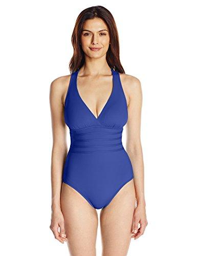 La Blanca Women's Island Goddess Multi Strap Cross Back One Piece Swimsuit, Blueberry, 8