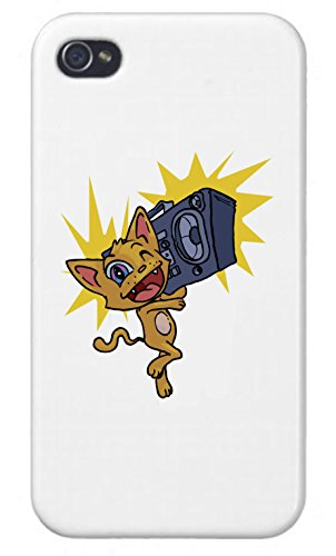 (Apple iPhone Custom Case 5 / 5S White Plastic Snap On - Happy Excitable Cat with a Boom Box)