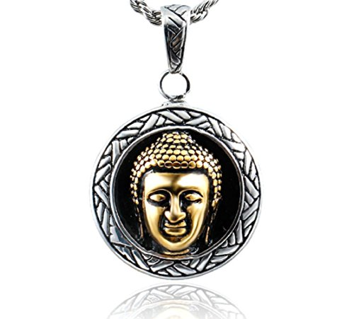Stainless Steel Good Luck Buddha Pendant Necklace, Unisex, 22