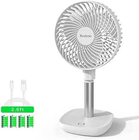 Yoobao Desk Fan, 10000mAh Rechargeable Battery Operated USB Powered Personal Table Cooling Fan 4 Speeds, Quiet, 45 Degree Up and Down for Home, Kitchen, Office, Outdoor Camping, Picnic – White