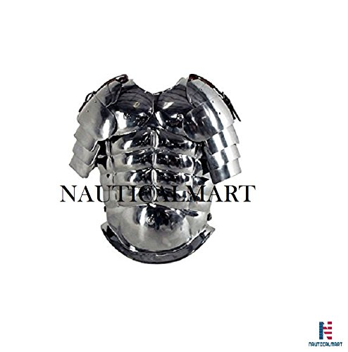 Medieval Muscle Armor w/ Spaulders Silver - One Size - Metallic by NAUTICALMART