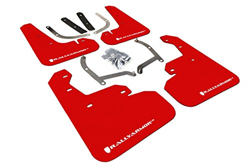 Rally Armor MF45-UR-RD/WH Red, White Mud Flap with Logo (17+ Subaru Impreza UR)