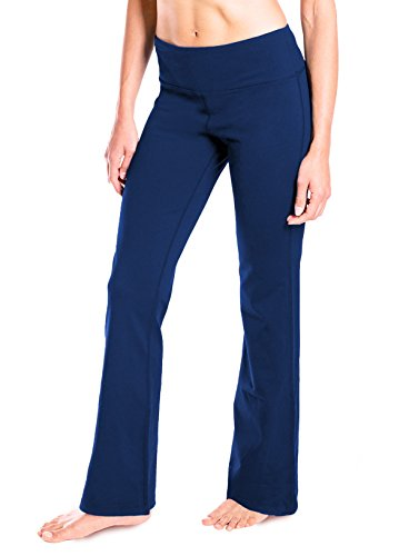 Yogipace Extra Tall Women's 37″ Bootcut Yoga Pants Long Bootleg Flare Pants Navy Blue Size L