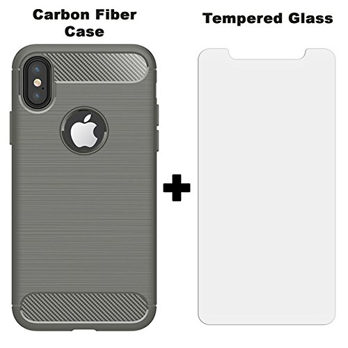 iPhone X Case   Apple iPhone 10 Case   Includes 9H Tempered Glass Screen Protector   For Men / Women   Slim and Flexible Non Slip TPU Matte Surface for - Grey Matte