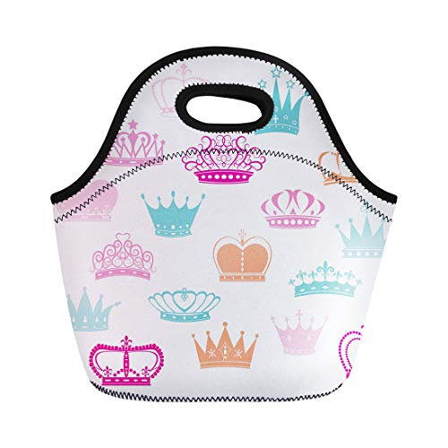 - Semtomn Lunch Bags Prince Pink Baby Crown Silhouette Princess Colorful Girl Pattern Neoprene Lunch Bag Lunchbox Tote Bag Portable Picnic Bag Cooler Bag