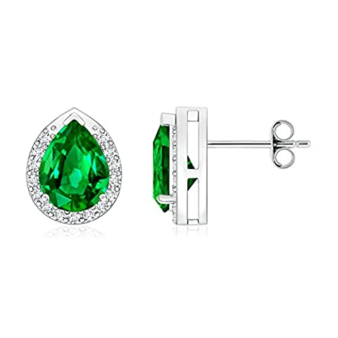 Diamond Halo Pear Shaped Natural Emerald Stud Earrings for Women in Platinum (8x6mm Emerald)