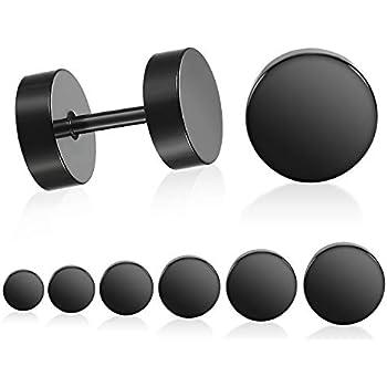 55e685ce4 LIEBLICH Black Stud Earrings Men Women Faux Gauges Ear Tunnel Stainless  Steel Earrings 6 Pairs 5mm-10mm