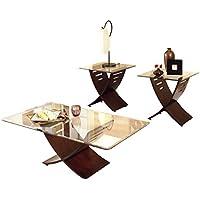 Steve Silver Company Café 3 Piece Occasional Table Set, Merlot, Cocktail Table: 48W x 26D x 19H/End Tables: 24W x 24D x 23H
