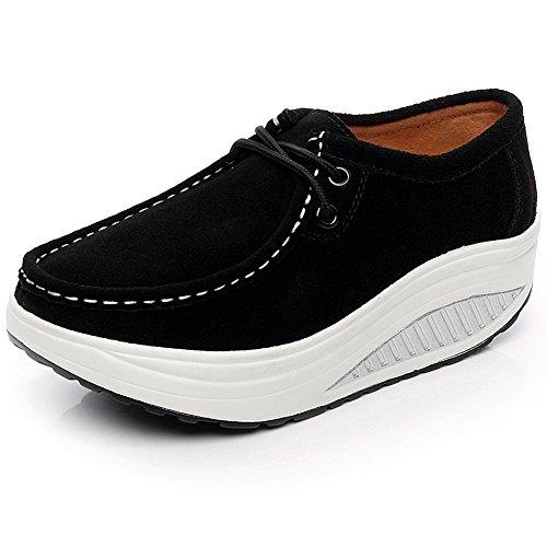 Shenn Dames Platform Fitness Suede Lederen Sneaker Zwart