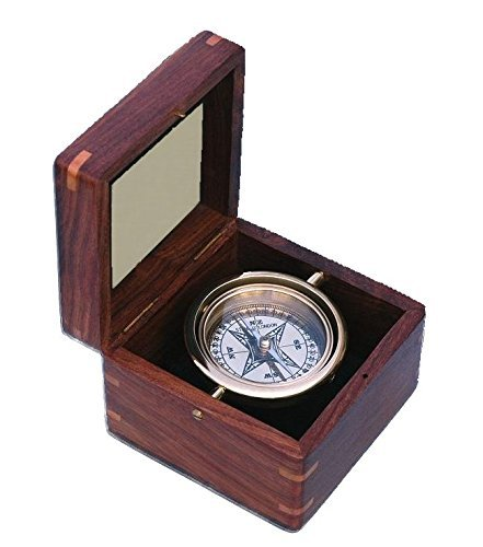 Engraved Small Boxed Compass with Inlaid Compass Rose