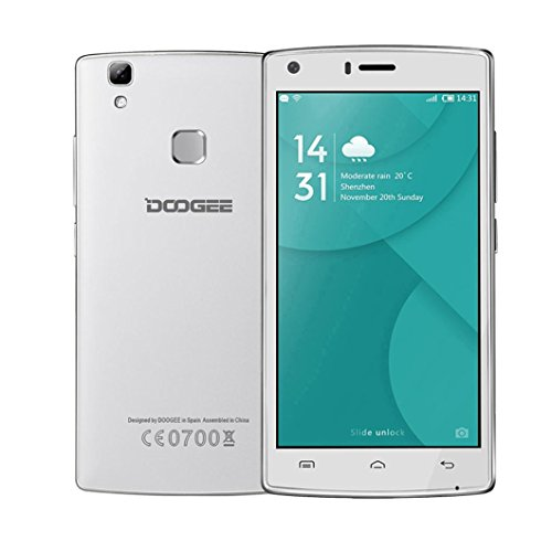 For DOOGEE X5 Max pro 4G 5.0inch Phone 2+16GB Android6.0 Fingerprint Mobile Phones Dual SIM Quad Core 4000mAH GPS (White)