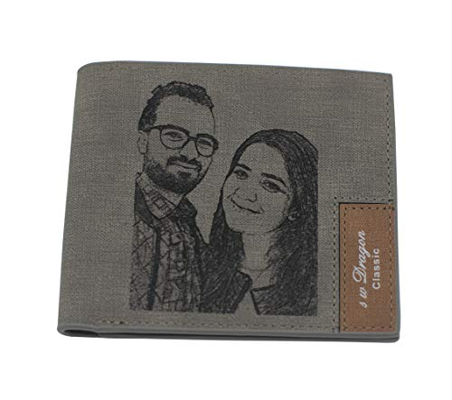 Personalized Engraved Photo Leather Wallet Custom Picture Wallets Purse Billfold for Men Handmade Father's Day Gifts Gray