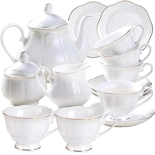 Porcelain Tea Set with Teapot Sugar Bowl and Creamer Pitcher(15PCS) - 7OZ Embossed Gold Trimmed New Bone China Coffee Cup and Saucer Set for 6