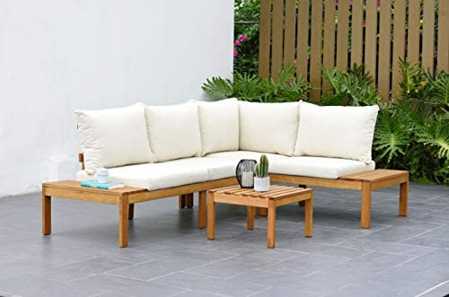 Amazonia Queens Patio Sectional Set | Teak Finish and Weather Resistant Off-White Cushions| Durable and Ideal