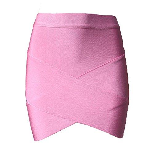 Juleya Short Donna Elastico Gonna Mini Sexy Slim Tight Pencil Night Club Party Gonna Caramella Rosa XS